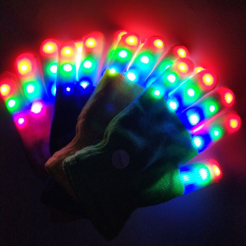 1PC Winter Children LED Gloves Keep Warm Gloves 7 Light Modes Finger Light Finger Toys Party Supplies