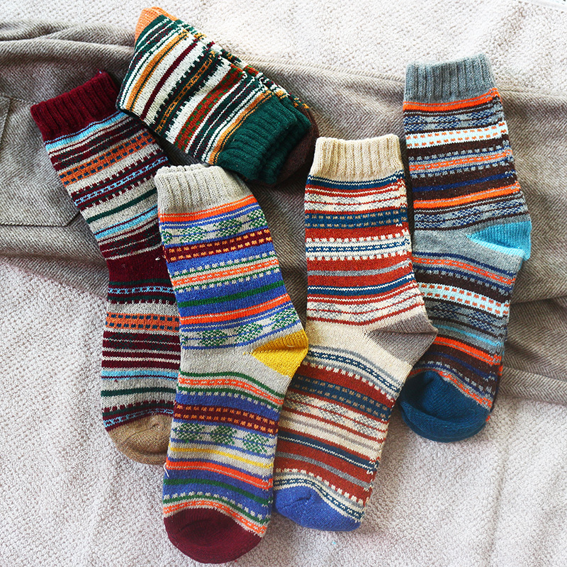 Winter New Men's Thick Warmth Harajuku Retro High Quality Striped Fashion Wool Casual Socks 5 Pair