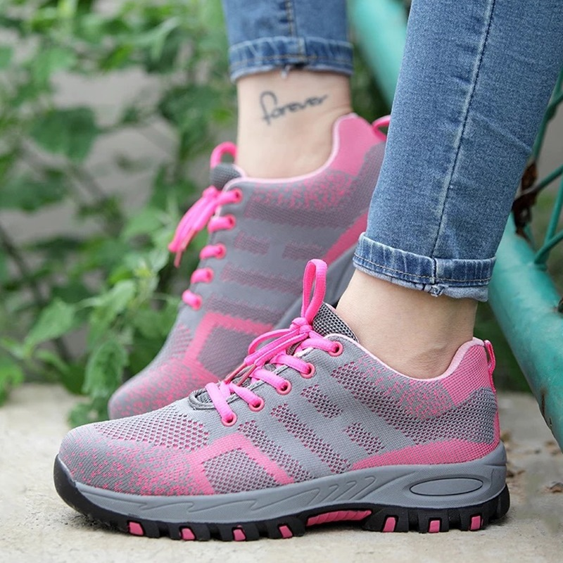 Steel Toe Work Women Work Boots For Mesh Women Lightweight Breathable Anti-smashing Non-slip Protective Safety Shoes