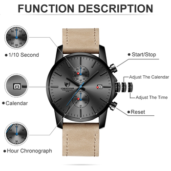 2019 Men Watch CHEETAH Brand Fashion Sports Quartz Watches Mens Leather Waterproof Chronograph Clock Business Relogio Masculino 3