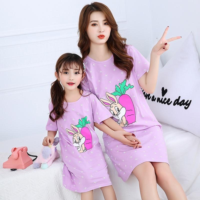 New Children's Nightdress Girls Cotton Nightgowns Baby Mother Kids Cotton Pajamas Girls Parent-child Dress Kids Girl Sleepwear