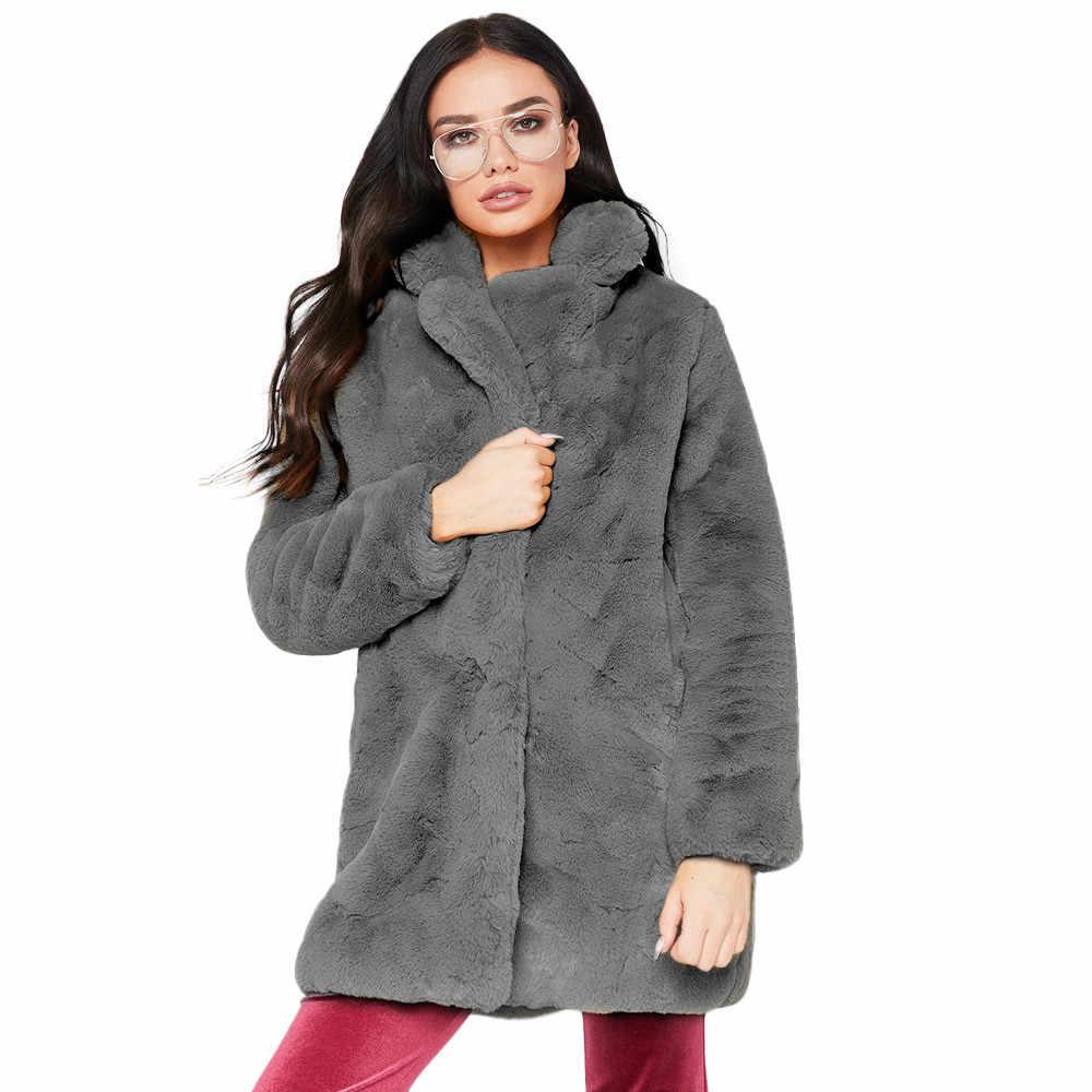 두꺼운 가짜 모피 코트 여성 가을 겨울 따뜻한 부드러운 느슨한 양털 가짜 자켓 레이디 중간 길이 옷깃 플러시 캐주얼 오버 코트