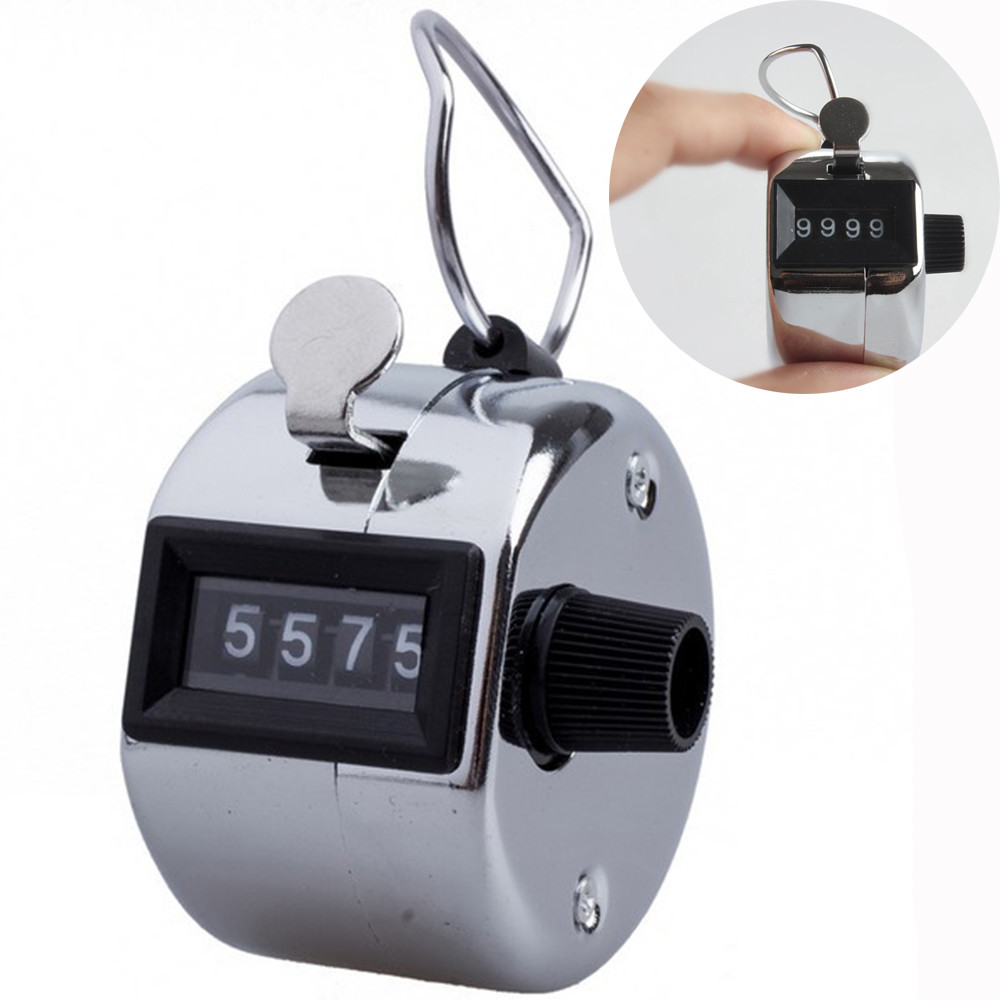 Hand Tally Counter 4 Digit Mechanical Palm Lap Clicker Manual Number Blue