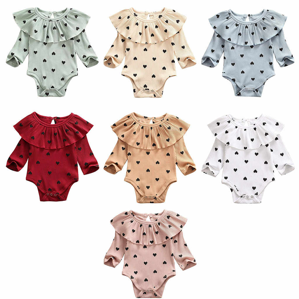 bodysuit for baby Valentine's Day bodysuit Infant Baby Girls  Heart Print Cotton  Long Sleeve Ruffles body one-piece Jumpsuit