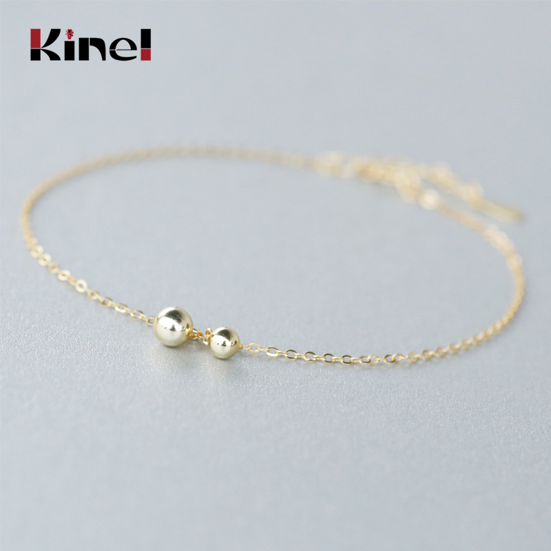 Kinel 100% Real 925 Sterling Silver Round Beads Anklets for Women Fashion 2020 Summer Bracelet On The Leg Jewelry