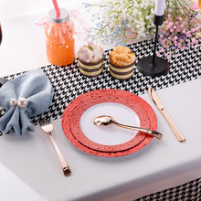 Disposable Plate Round Plastic PS Thick Color Plate Wedding Outdoor Party Plate
