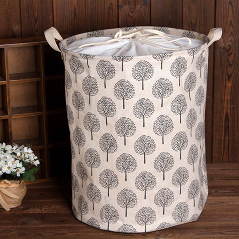 1pc Laundry Baskets Made With Cotton And Linen Material For Dirty Clothes