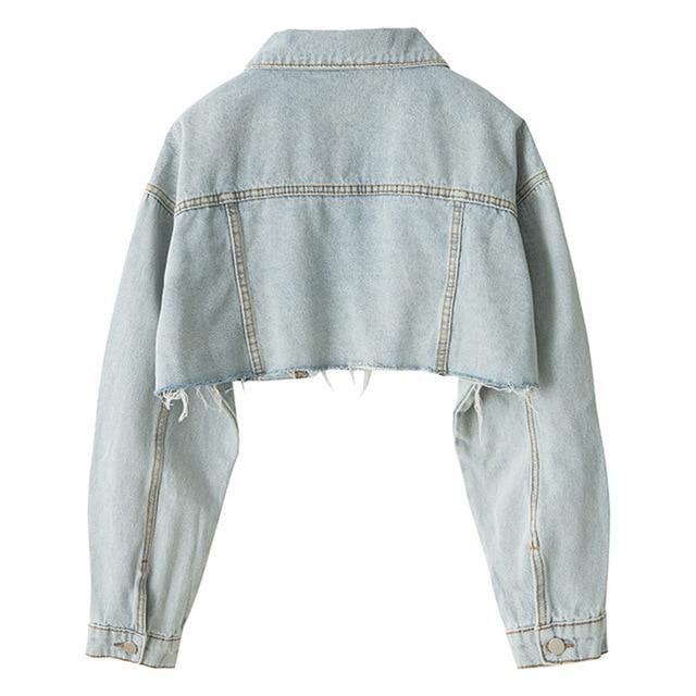 2019 Loose Skinny Jacket Short Holes Cowboy Loose Coat Woman 6