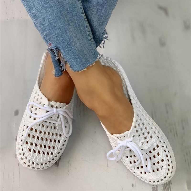 여자 샌들 2020 여름 손수 숙 녀 신발 꽃 샌들 플랫 레트로 스타일 신발 여자 슬리퍼 PU 가죽 샌들