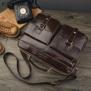 Image 3 - Fonmor New 100%Cowhide Briefcases Men Big Totes Genuine Leather Handbag Zipper Male Business Hasp Pocket Soft Handle Bags