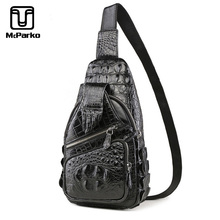 McParko Mens Luxury Crocodile Chest Bag Crossbody Genuine Leather Alligator Paw Design Hip Hop Streetwear Chestbag