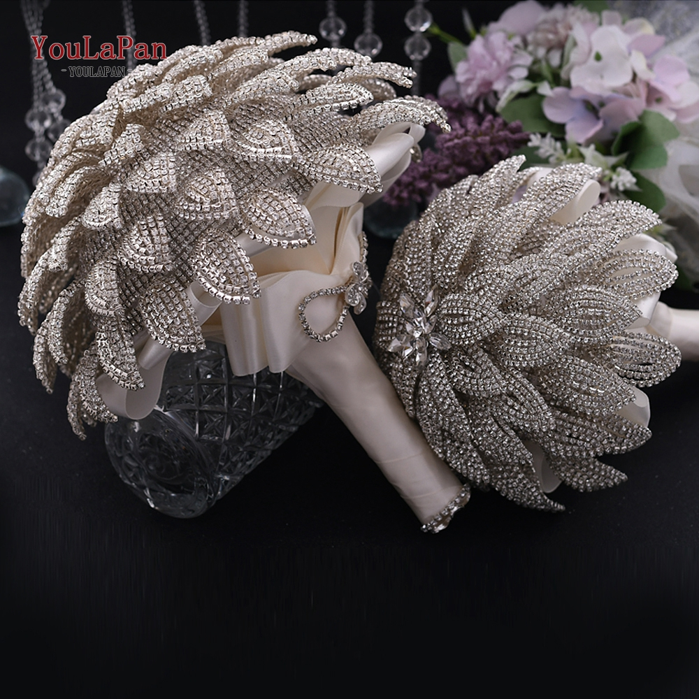 YouLaPan HF01 Handmade Bridal Bouquet Beauty Diamond Bride Flower Wedding Party Accessory Bride's Bouquet Wedding Hand Bouquet