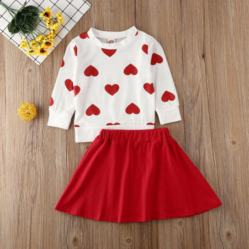 New Toddler Kids Baby Girl Valentine 's Day Clothes Long Sleeve Love Heart Printed Shirt Tops Tutu Skirt 2Pcs Outfits Set 1
