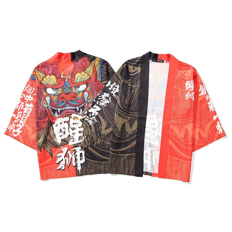 Bebovizi男性女性 2020 日本のカーディガンコスプレ女性浴衣女性ストリートライオンビーチ伝統的な着物