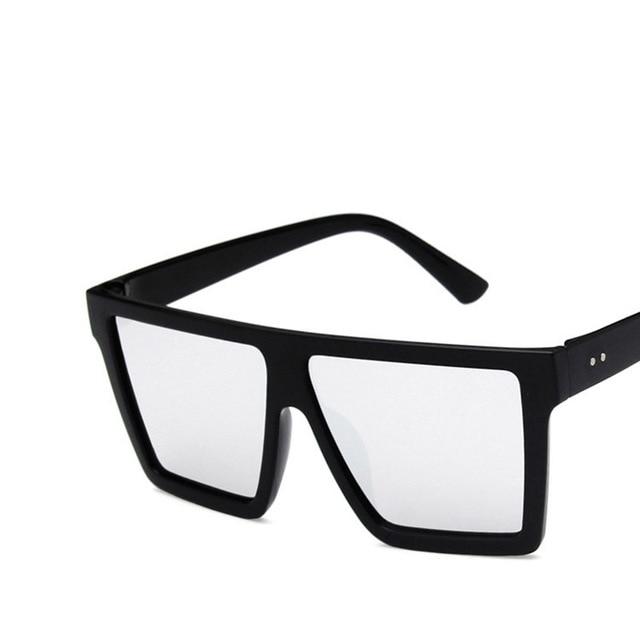 Over Size Vintage Retro Sunglasses Men Women Flat Top Square UV 400 Protection Sunglasses Female Black Big Sun Glasses
