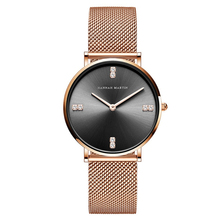 цена на Women Watches Luxury Diamonds Rhinestones Japan Quartz Movement Black Watch Women Quartz Stainless Steel Bracelet Reloj Mujer