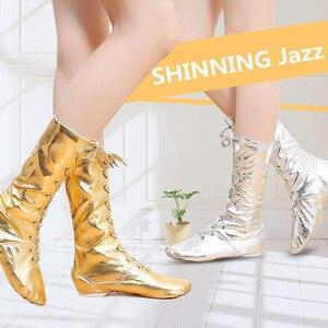 Image 1 - Nieuwe Canvas Pu Kinderen Dans Laarzen Jazz Dansschoenen Lace Ups Lange Laars Zwart Goud Zilver Podium Meisjes Uitvoeren schoenen