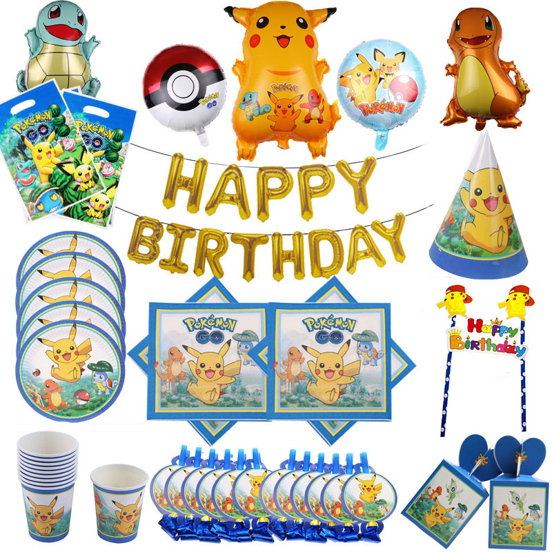 Pokemon Birthday Party Favors Paper Plates Cups For Kids Pikachu Cake Topper Boys Baby Shower Party Supplies Wedding Decoration