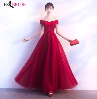 Red Lace Evening Dresses ES30124 A-Line Boat Neck Elegant Formal Long Vestidos De Fiesta Noche 2019