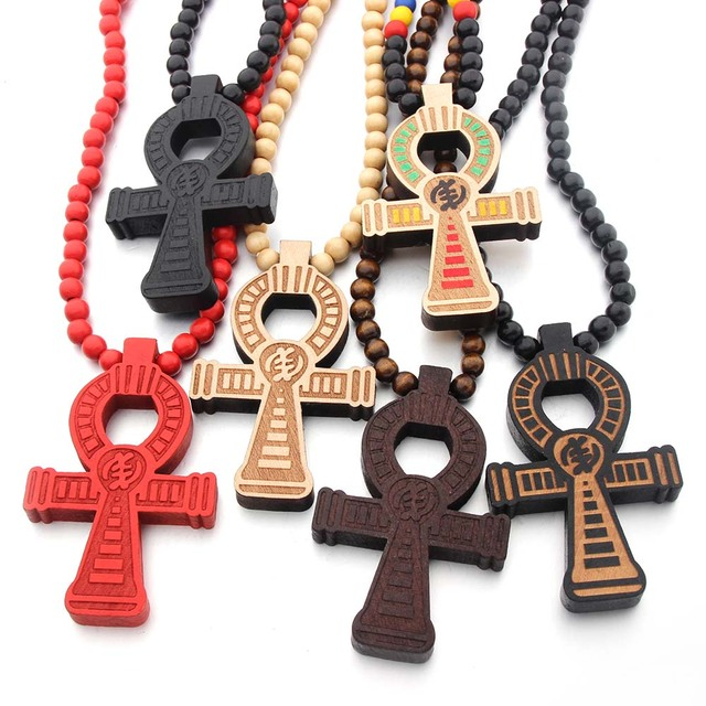 Египетский крест Анкх сила жизни хорошее дерево хип хоп ожерелье