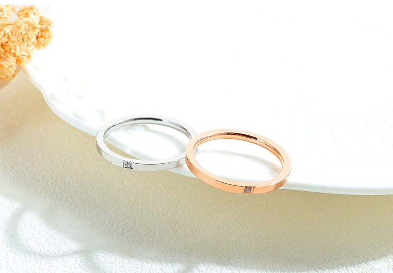 Zirconia Engagement Wedding Finger Rings For Women Fashion Brand Rose Gold Luxury Ring Female Jewelry Accessories 2mm Rings