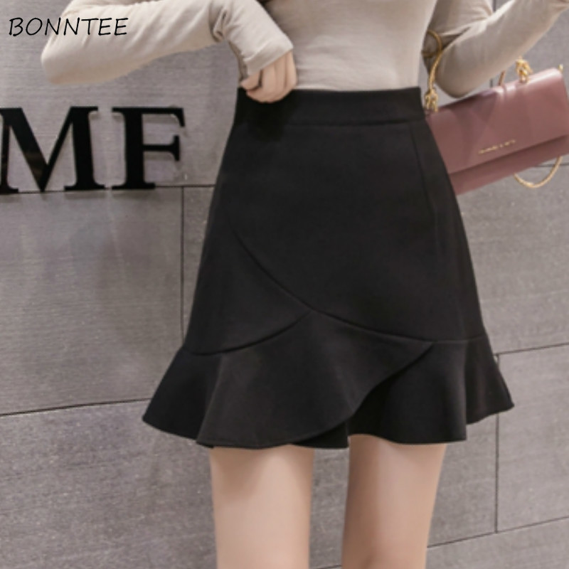 Skirts Womens High Waist Trendy Ruffles Elegant Females Harajuku Mini Skirt Streetwear Simple Leisure All-match Black Fashion