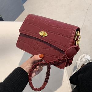 Weave Shoulder strap Armpit bag 2020 New High quality PU Leather Women's Designer Handbag Stone pattern Shoulder Messenger Bag