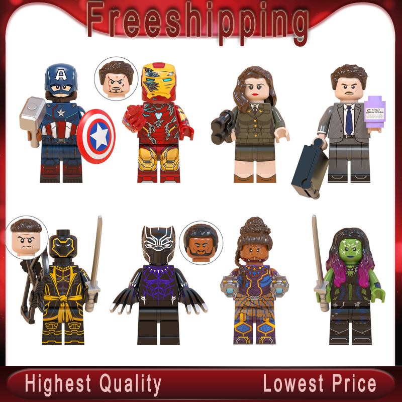 Captain America Injured Iron Man Tony Howard Stark Carter Black Panther Shuri Gamora Avenger Building Blocks Juguete Toys WM6068