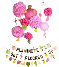 Hawaiian Party Decorations DIY Banner Pompom Flower Lantern Summer Set Birthday Flamingo Beach  Anniversaire Backdrop