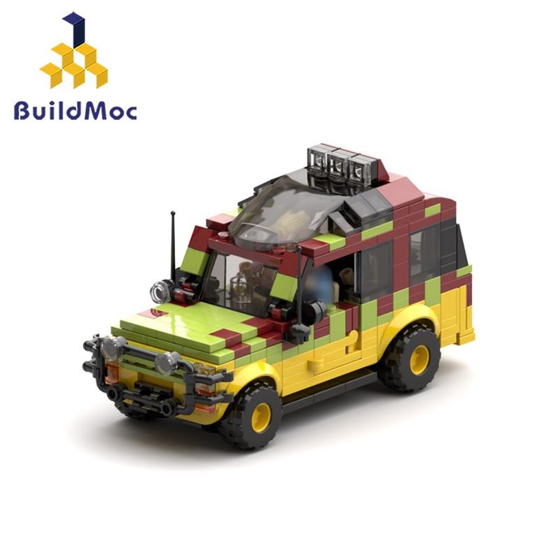 Buildmoc Jurassic-Park Ford ExplorerSoldier Building Blocks German Willis Jeep-antiaircraft Gun Bricks Toy For Children