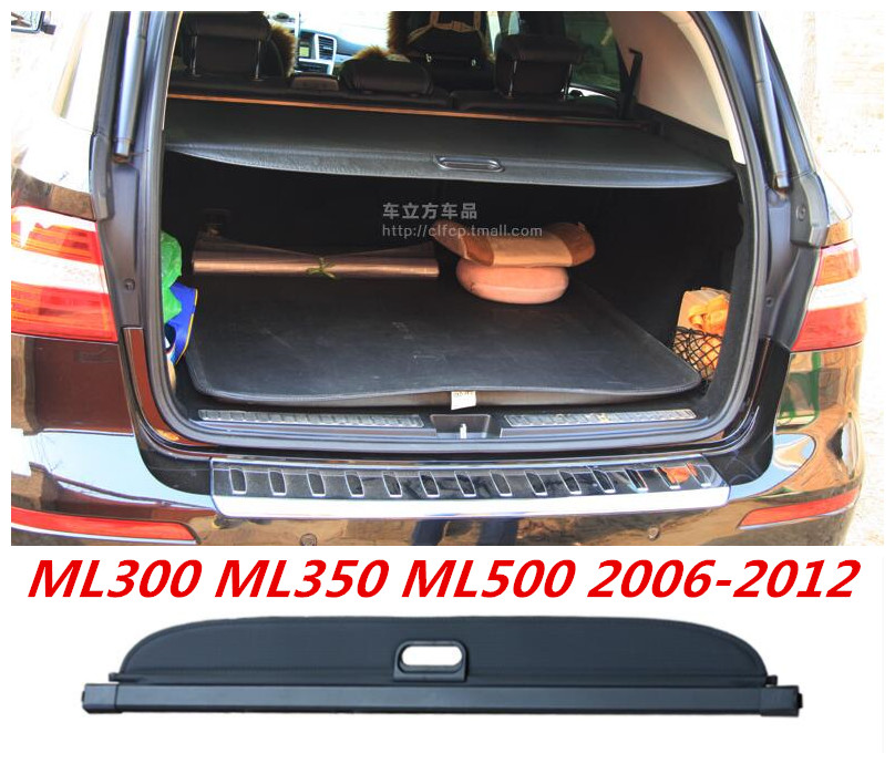 Car Rear Trunk Security Shield Cargo Cover For Mercedes-Benz ML Class W164 ML350 ML500 2006-2012 (Black, Beige)