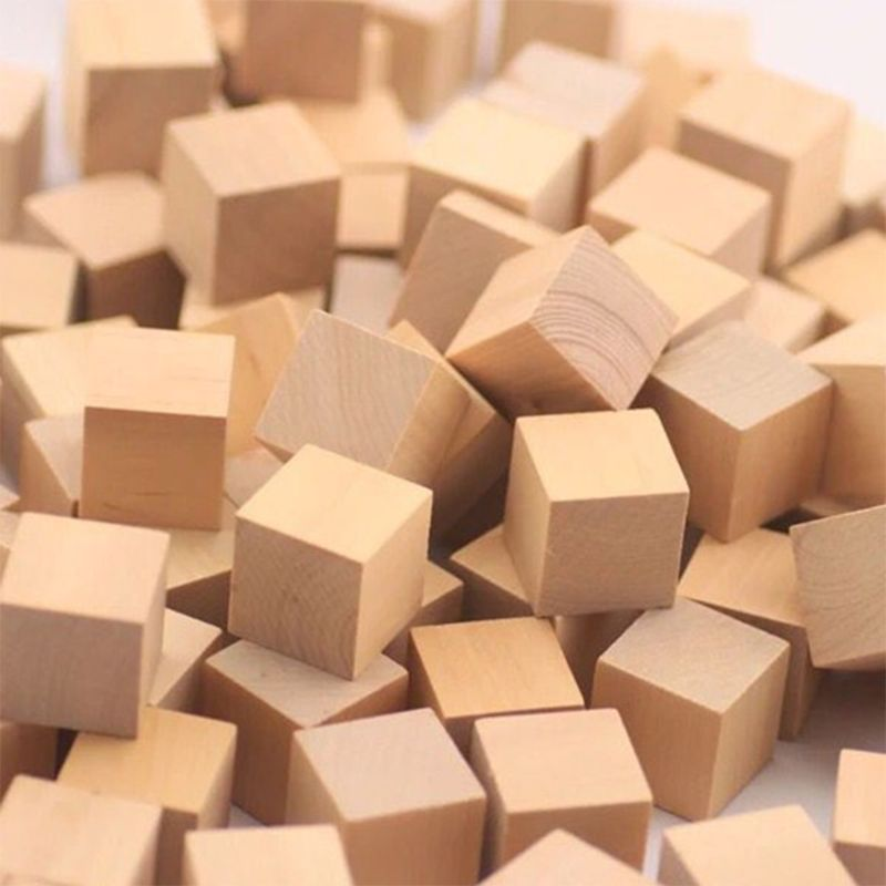 Wooden Cubes Natural Unfinished Craft Wood Blocks For Baby Shower Pack Of 20