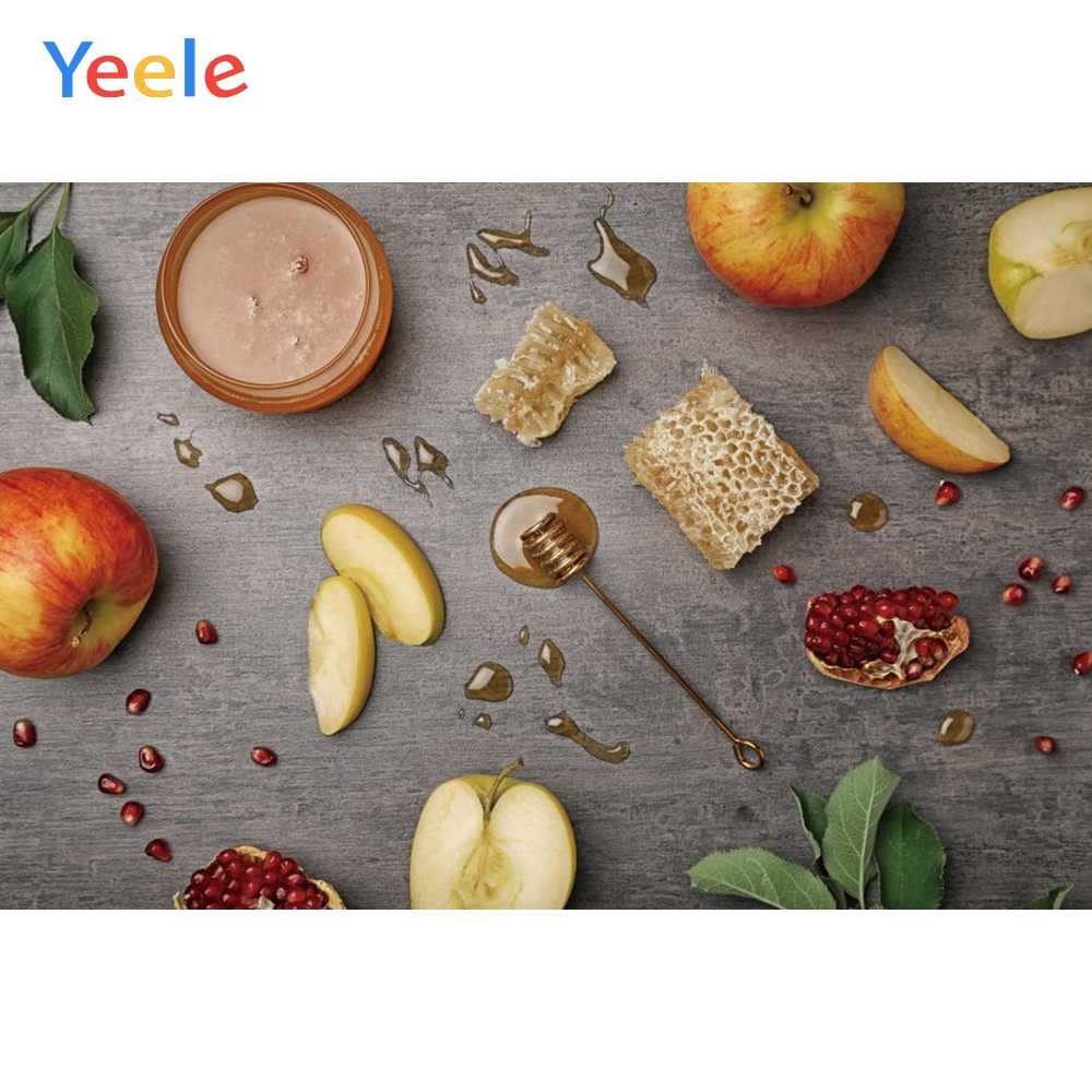 Happy Rosh Hashanah Backdrop 10x6.5ft Jewish Holiday Polyester Photography Background Blue Wooden Table Board Apple Honey Pomegranate Cups Heart-Shape Greet New Year Judaism Portrait Shoot Banner