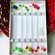 6pcs Custom hand made Christmas candy glass statue decoration ornaments creative mixing cocktail Drink Stirring Sticks Festival bar party gifts swizzle stick set