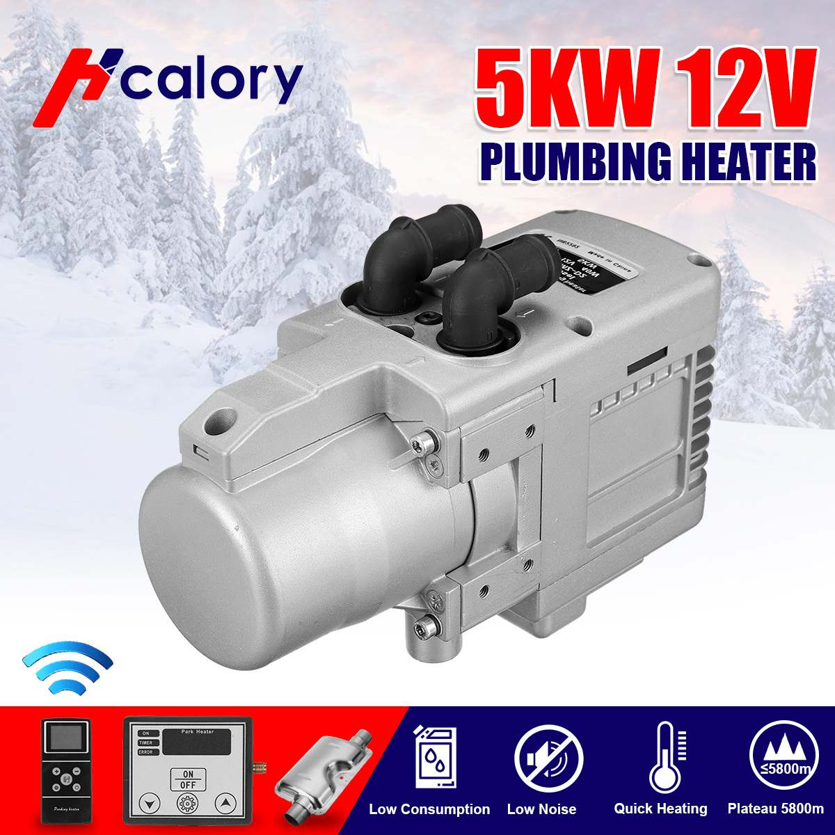 12V 5KW Gasoline Air Heater Water Heater With Cellphone Remote Control LCD Monitor Diesel/Gasoline universal for Motor Trucks