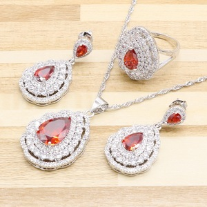 Jewelry Sets For Women 925 Silver Color Red Cubic Zirconia Earrings Pendant Necklace Rings Free Gift Box Made in China