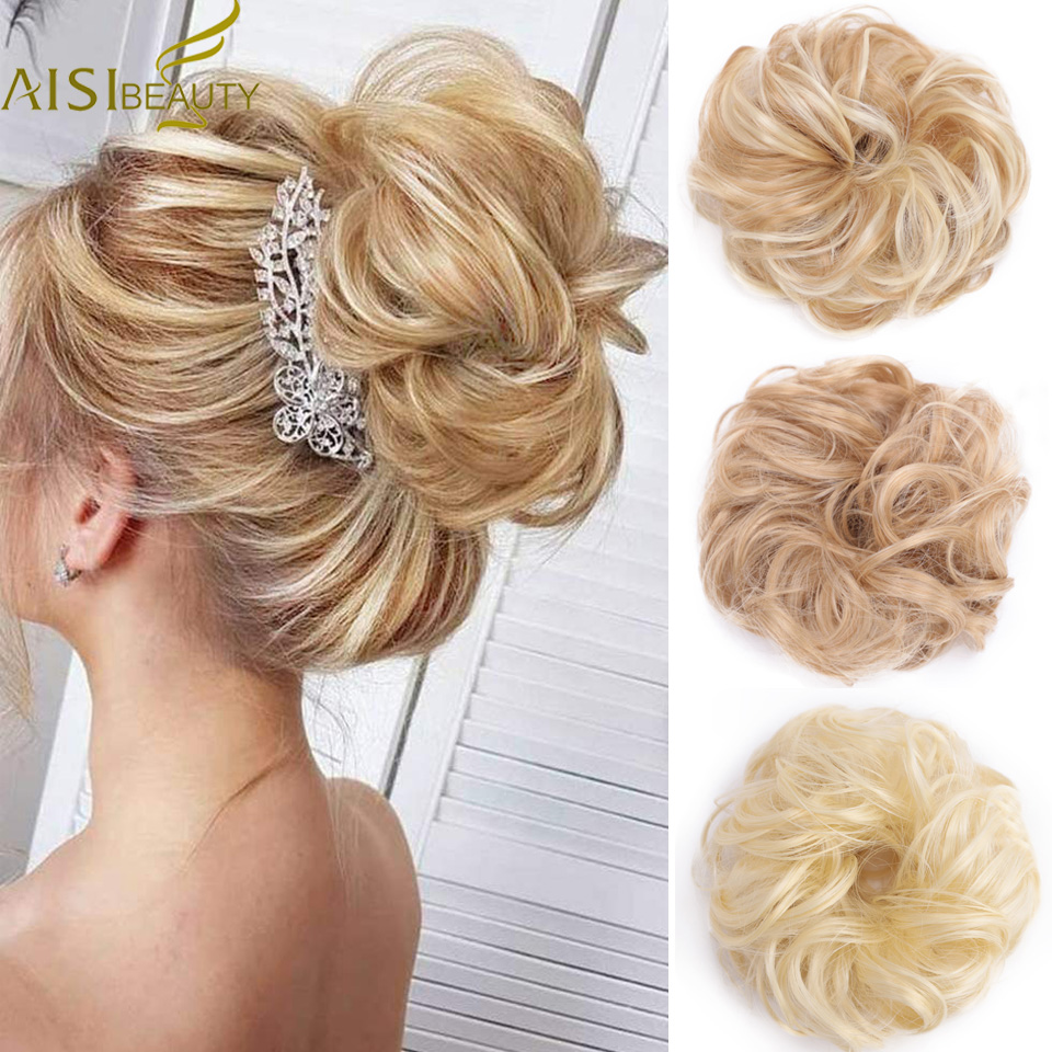 Elastic Scrunchie Extensions Hair Ribbon Ponytail Bundles Updo Hairpieces Donut Bun For Brides Women Synthetic Hair Chignons