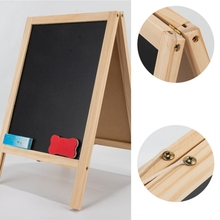 Double-sided Foldable Easel Wooden Writing Board Blackboard Drawing Board Wooden Magnetic Message Board Decoration -25*40cm wood figurines easel racks double sided magnetic small blackboard brackets baby painting board wooden drawing educational toys