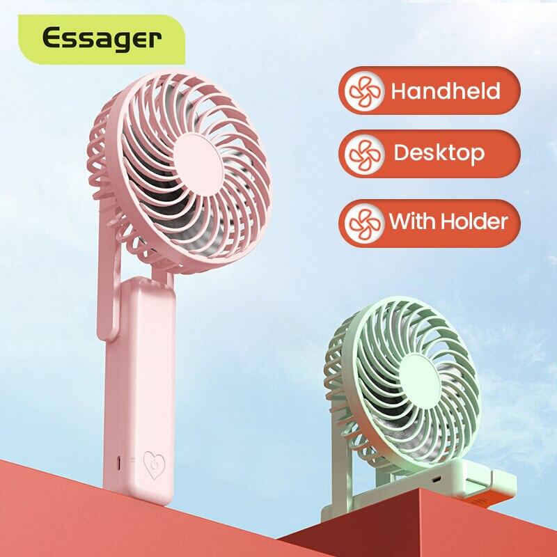 Essager Mini USB Fan Portable Handheld Cooling Fan Summer Gadgets Rechargeable Desktop Foldable USB Cooler Fan With Phone Holder