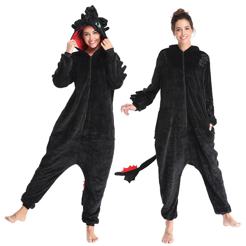 How To Train Your Dragon Toothless Anime Kigurumi Women Winter Flannel Animal Onesie Cute Cosplay Sleepwear Jumpsuit Pajamas