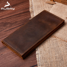 AURAY Vintage Men Genuine Leather Clutch Wallet Bags Mens Men Wallets Leather Brand Luxury Card Holder Wallet Money Bag Purse