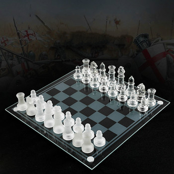Glass Chess Board High Quality Anti-broken Elegant Glass Chess Pieces Chess Game Chess Set Chess Game Large Size 35CM фото