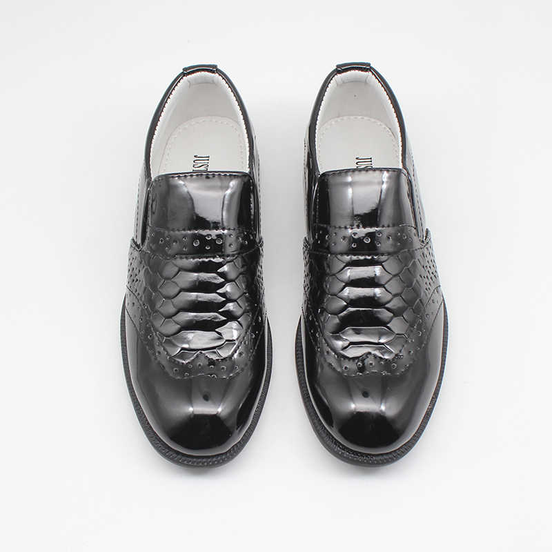 boys formal party dress shoes black twin gusset slip on smart school sizes 1-6