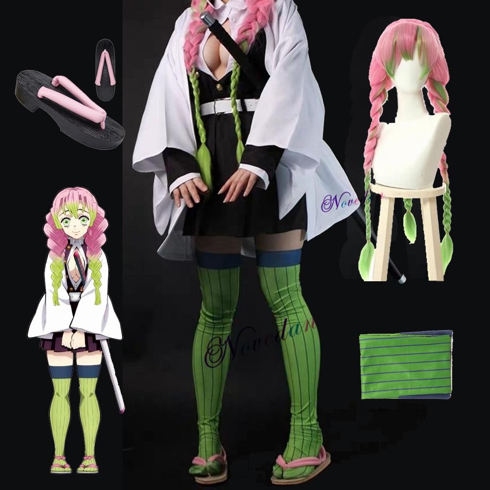 Kanroji Mitsuri Costumes Anime Demon Slayer: Kimetsu No Yaiba Mitsuri Kanroji Cosplay Wigs Kisatsutai Uniforms Costumes