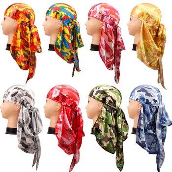 Fashion Pirate Hat Waves Rags Camo Mens Silky Durags Turban Print Unisex Silk Durag Headwear Bandans Headband Hair Accessories