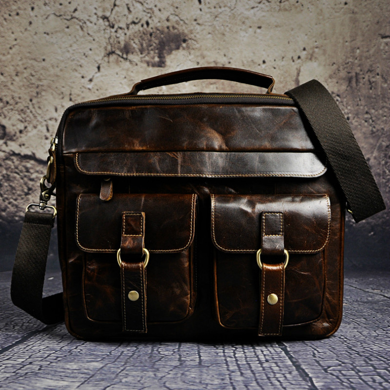 1PCS  Leather Retro Men's 13-inch Business Notebook Computer Kit Leather Laptop Bag