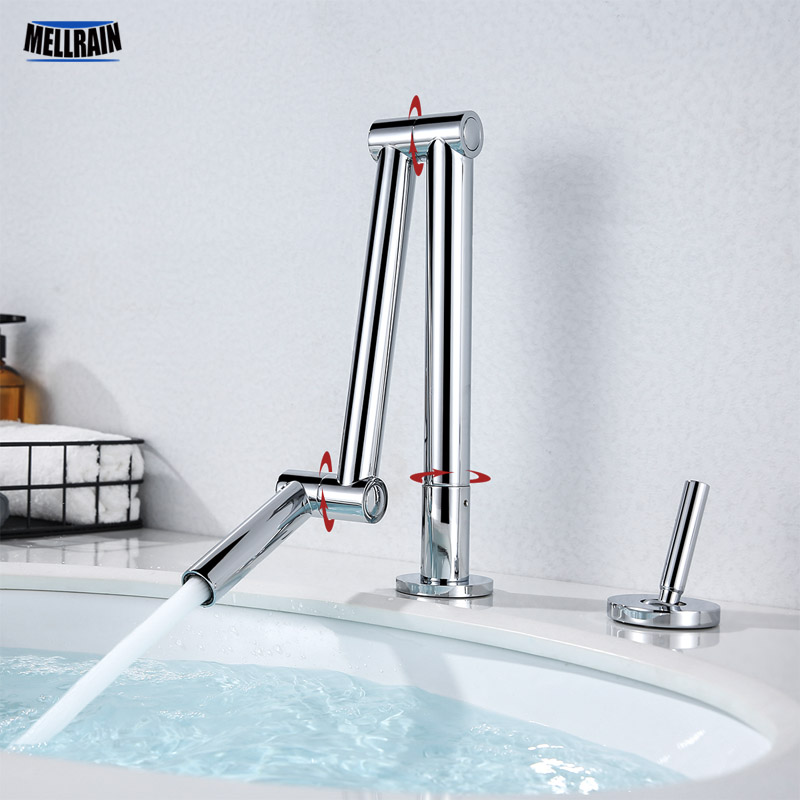 Separate Type Bathroom & Kitchen Sink Faucet Free Rotation Basin Water Mixer Brass Single Handle Deck Mount Tap Ware