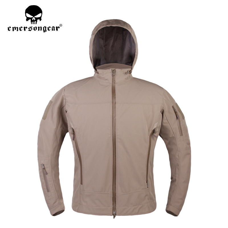 emersongear Man SoftShell Jackets Outdoor Camping Hiking Winter Coat Hunting Windbrer Jacket Hooded Hunt Coats EM6873 in Hiking Jackets from Sports Entertainment