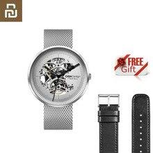 Youpin CIGA MY Series ساعة مجوف تصميم ساعة ميكانيكية مضادة للزلازل مع حزام معدني وحزام جلدي هدية