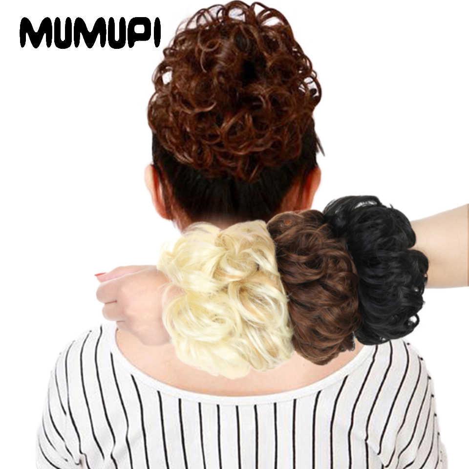 Extensiones de Cabello MUMUPI ondulado rizado cabello desordenado moño de extensiones de pelo Donut moño para el cabello peluca cabeza